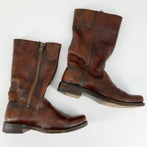 Frye Heath 77283 Zip Maple Brown Moto Boots